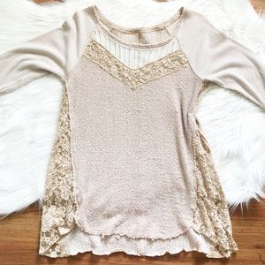 We the Free Free People Lace Tan Top